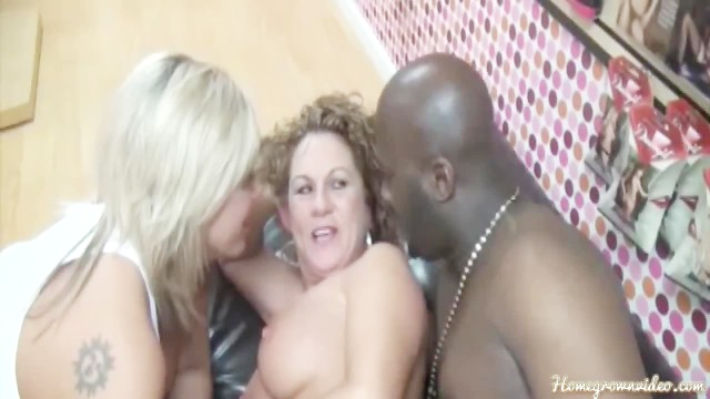 Homegrown adult videos Lucky customer fucked by two hot milfs