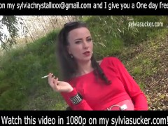 Erotic Smoking.Cutie Young Milf EVE 120's Smoking in Red- Sylvia Chrystall.