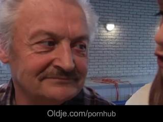 Lucky grandpa Gustavo fucks super sexy redhead babe