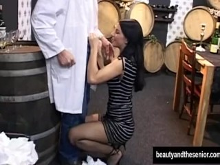 Teen vixen suck and fuck an old cock