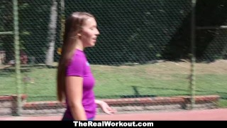 TheRealWorkout - Kimber Lee Gets Drilled By Her Soccer Coach! Facefuck glasses