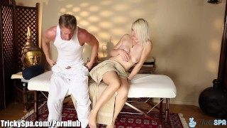 Sex masseur client favors dirty from gets trickyspa blowjob tits