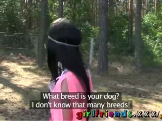Preview 5 of Girlfriends Hot black haired babe eats pussy in public forest