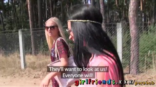 Preview 2 of Girlfriends Hot black haired babe eats pussy in public forest