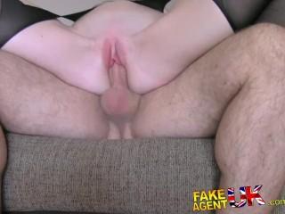 FakeAgentUK Slim British amateur redhead gets fucked on film by con artists