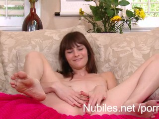 Skinny amateur cutie pounds her wet pussy