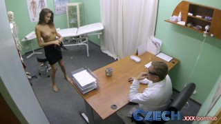 Czech Doctor makes sexy patient with amazing tits squirt for the first time