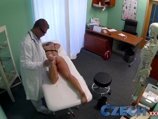 Czech Dizzy blonde squirts and recieves a creampie prescription