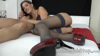 With boyfriend handjob ennie her job panties