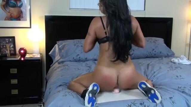 Naked female tennis Brunette with big tits and big ass in workout outfit dildo riding