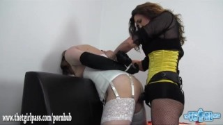 Kinky dom fucks crossdresser sluts face and ass with two big strapon cocks  ass fuck lingerie dominatrix strapon bdsm crossdresser femdom masturbate amateur cumshot fetish bound thetgirlpass face fuck adult toys sex toy