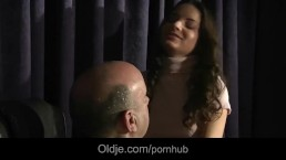 Old thick dick penetrates young Anita in pussy and mouth