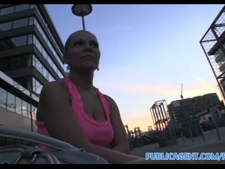 PublicAgent Russian blonde is fucked hard outside in public