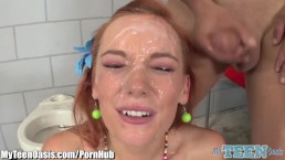 Redhead Teen Facialed After being Spit-Roasted