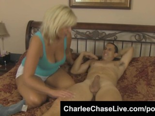 Charlee Chase and slut friend seduce younger guy with big dick