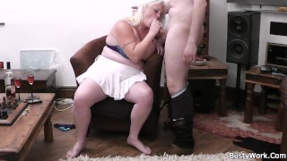 Heavy blonde rides his hard meat