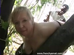 French blonde get fucked outdoor by a black guy
