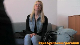 Preview 1 of FakeAgent Busty Blonde Babe gets jizzed over in Casting interview