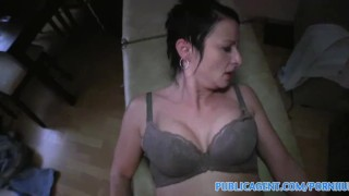 Publicagent gives ending masseuse mature a happy busty cash