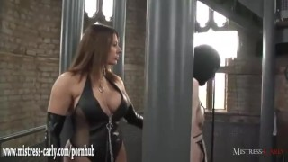 Hot mistress in latex spanks clumsy maid and drops hot wax on his big cock  spanking dominatrix big-cock bdsm maid femdom amateur punishment fetish milf hardcore kink mistress-carly wax mistress bondage