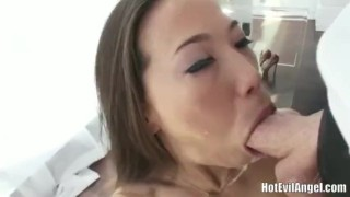 Asian girl Kalina Ryu gives sloppy blowjob