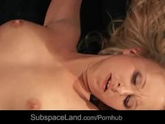 Salacious restrained blonde slut deep drlled with fuck machine