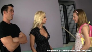 Preview 1 of Horny Couple Fucks The Babysitter