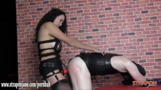 Mistress gives tight sweaty latex bitch quick hard fuck with big strapon  ass fuck adult toy strapon slave femdom mom amateur fetish hardcore sex toys latex mother mistress anal straponjane bitch