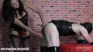 Mistress gives tight sweaty latex bitch quick hard fuck with big strapon  ass fuck strapon slave femdom mom amateur fetish hardcore latex mother mistress anal straponjane sex toys adult toy bitch