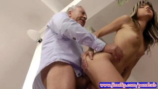 British babes make old man jizz Cowgirl anal
