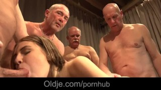 5 old geezers gang bang wide a nasty young blonde