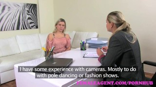 Preview 1 of FemaleAgent. MILF agent strikes a deal with desperate sexy pole dancer