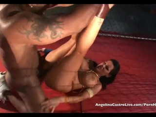Angelina Castro takes on Nat Turner Big cock in a Fighting cage!