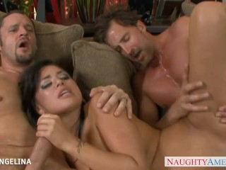Horny Eva Angelina taking two big dicks