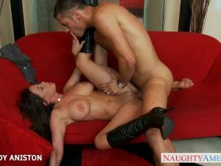 Brunette honey in boots Brandy Aniston take cock