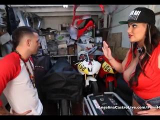 Big Titted Angelina Castro Fucks & takes Cumshot In Bike Garage!
