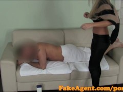 FakeAgent Sexy blue eyed babe gives sensual massage before sex in Casting