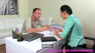 Preview 1 of FemaleAgent. Sexy MILF agent seduces and fucks handyman for a discount