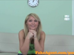 FakeAgent Cute blonde hottie gets her tight pussy fucked by Big cock