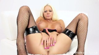 Nikita Von Jamse playse with ehr big tits and pussy