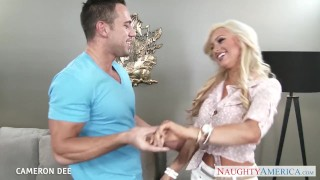 Superb blonde Cameron Dee gives blowjob Ink lolly