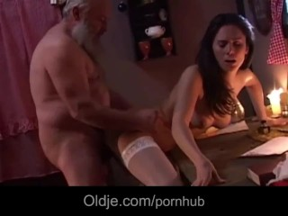 Jack Rabbit Demonstration Oldman Gets On Christmas The Present Of His Life, Brunette Blowjob Mature