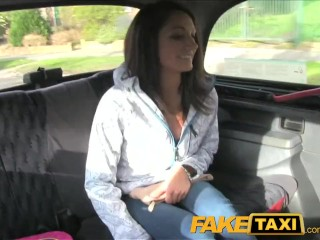Jessy Dubai Maid FakeTaxi Brunette has taxi backseat threesome