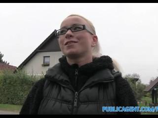 Peer Pressured Into Fucking Huge Dick Publicagent Slutty Blonde In Glasses Fucks A Stranger For Cash, Amateur Blonde