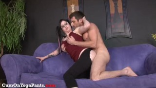 ophelia rain fucks in yoga pants pony-tails hardcore handjob yoga-pants big-tits blowjob shaved-pussy big-boobs cock-sucking glasses chubby brunette doggy-style big-dick facial