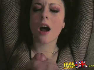 FakeAgentUK Sexy goth looking chick fucks and sucks cock for promised cash