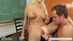 Busty blonde teacher Summer Brielle gets facialized