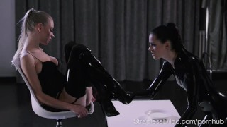 Shiny Latex on Mia and Scarlett  high heels strapon straplessdildo lesbians cunnilingus kink realdoe rubber brunette latex stockings leotard pussy eating latex catsuit girl on girl adult toy