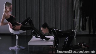 Shiny Latex on Mia and Scarlett  high heels strapon straplessdildo lesbians cunnilingus kink rubber brunette latex stockings pussy eating leotard girl on girl realdoe adult toy latex catsuit