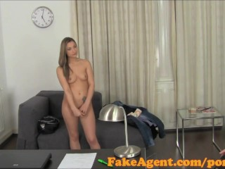 FakeAgent Sexy babe tricked into sex and spunked over in Office
